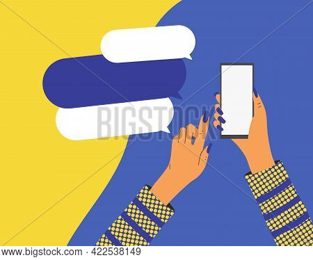 Female Hands Holding A Phone Banner Template. Smartphone With Empty Screen. Vector Flat Color Illust