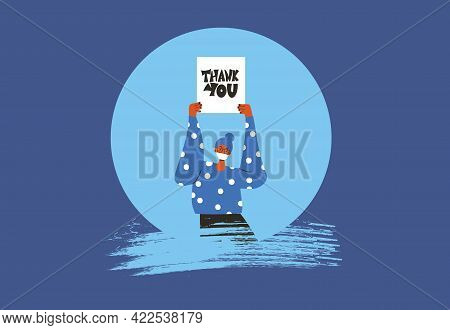 Thank You Banner. Blank With Text In Hands People With Mask. Vector Illustration.