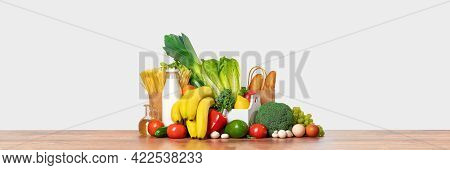 Grocery. Box Full Of Fruits And Vegetables