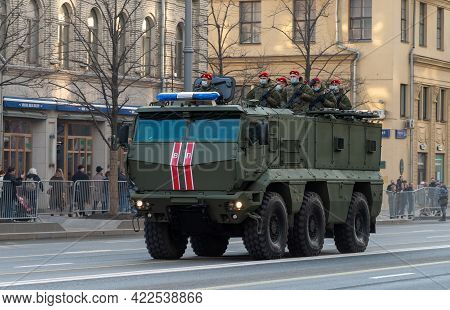 April 30, 2021 Moscow, Russia. Typhoon Armored Car To The Russian Military Police On Tverskaya Stree