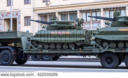 April 30, 2021 Moscow, Russia. Russian Combat Uninhabited Multifunctional Robotic Complex Uran-9 On