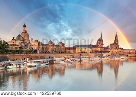 Dresden, Germany Skyline With Elbe River Background