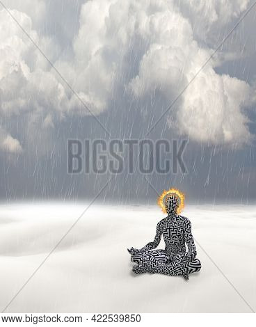 Man with maze pattern and burning halo meditates in white landscape. 3D rendering