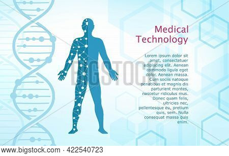 Medical Technology. Abstract Background With Digital Drawing Of Man. Vector Illustration With Dna Mo