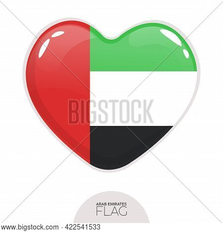 Isolated Flag Emirates In Heart Symbol Vector Illustration