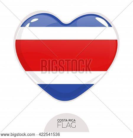 Isolated Flag Costa Rica In Heart Symbol Vector Illustration