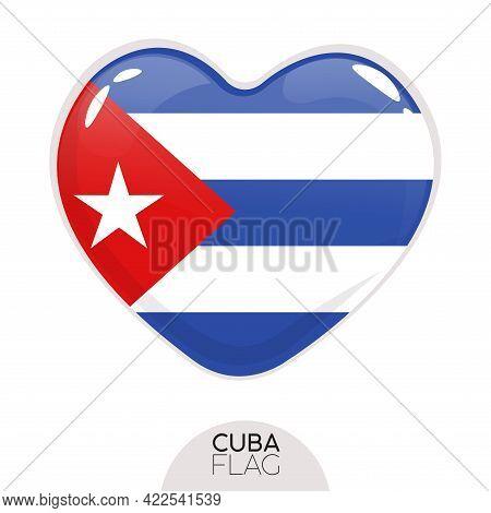 Isolated Flag Cuba In Heart Symbol Vector Illustration
