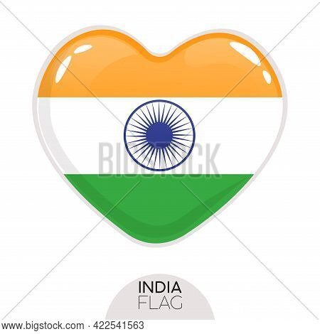 Isolated Flag India In Heart Symbol Vector Illustration