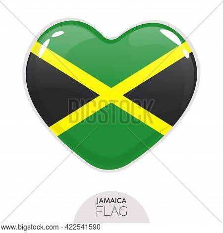 Isolated Flag Jamaica In Heart Symbol Vector Illustration