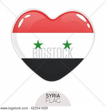Isolated Flag Syria In Heart Symbol Vector Illustration