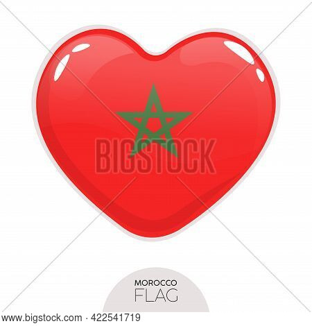 Isolated Flag Morocco In Heart Symbol Vector Illustration