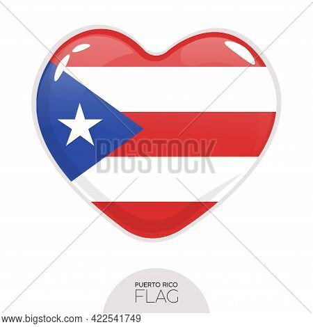 Isolated Flag Puerto Rico In Heart Symbol Vector Illustration
