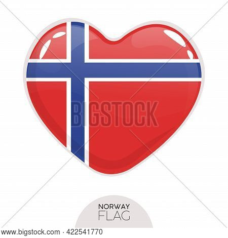 Isolated Flag Norway In Heart Symbol Vector Illustration