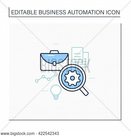 Analysis Business Line Icon. Automation Analyzes Data.find Mistakes In Data. Virtual Analyst. Busine