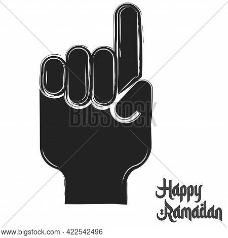 Isolated Hand Symbol Ramadan Kareem Draw Black Muslim Holy Vector Illustration