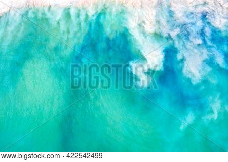 Top View Aerial Drone Photo Of Ocean Seashore With Beautiful Turquoise Water And Sea Waves. Caribbea