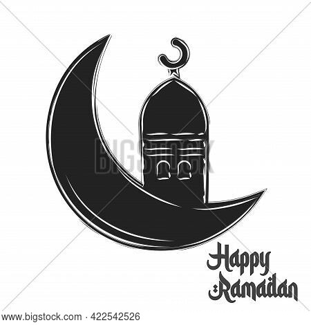 Isolated Moon Ayna Ramadan Kareem Draw Black Muslim Holy Vector Illustration