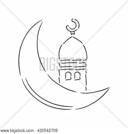 Isolated Moon Ayna Ramadan Kareem Draw Muslim Holy Vector Illustration