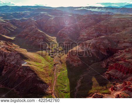 Scenic Aerial View Of Red Sandstone Rocks Of Fairy Chimneys In Narman Valley. Erzurum, Turkey