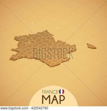 Country France Map Old Style Geography Vector Illustrator
