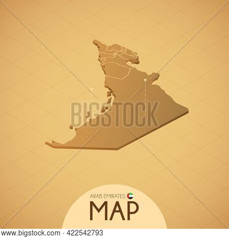 Country Emirates Map Old Style Geography Vector Illustrator