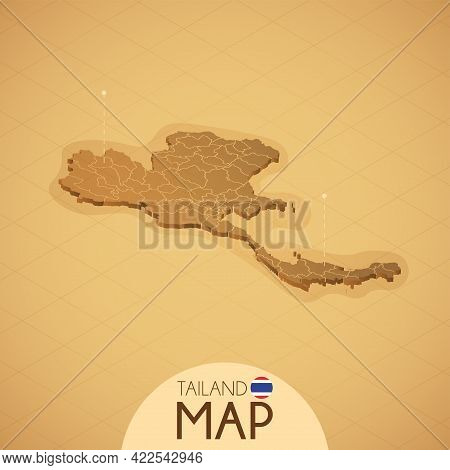 Country Tailand Map Old Style Geography Vector Illustrator