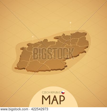 Country Czech Map Old Style Geography Vector Illustrator