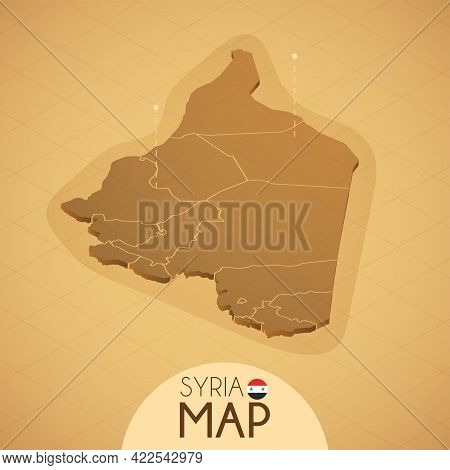 Country Syria Map Old Style Geography Vector Illustrator