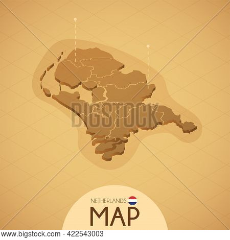 Country Netherlands Map Old Style Geography Vector Illustrator