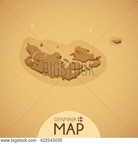 Country Denmark Map Old Style Geography Vector Illustrator