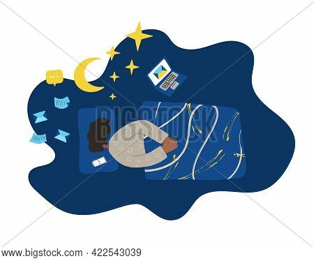 Insomnia And Burnout Vector. Woman Have Problem With Night Sleep And Getting A Messages. Female Char