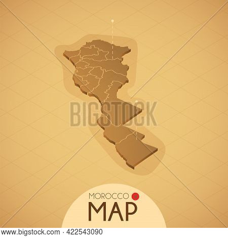 Country Morocco Map Old Style Geography Vector Illustrator