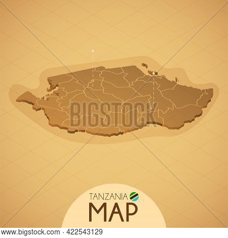 Country Tanzania Map Old Style Geography Vector Illustrator