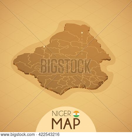 Country Niger Map Old Style Geography Vector Illustrator