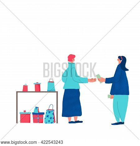 Local Retail Business Concept. Corner Shop. Female Person Dressed In Casual Clothes Byuing A Hand Ma