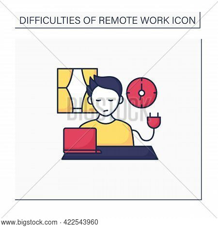 Remote Work Color Icon. Unplugging After Work. Low Energy Level. Tired. Impossible To Maintain Produ
