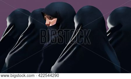 Muslim Women Are See Wearing The Traditional Niqab Garment In This 3-d Illustration.