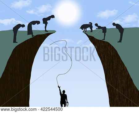 A Man In A Ravine Who Needs Help To Get Out Throws A Rope Toward People Above Who Make No Effort To
