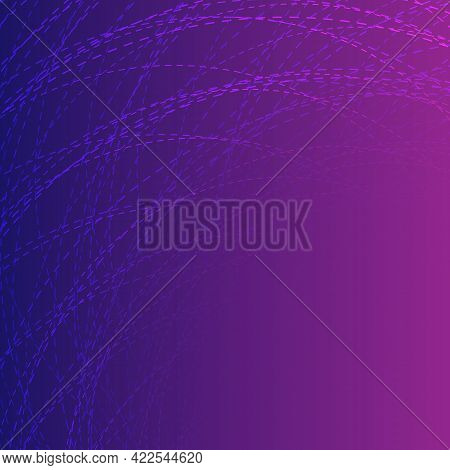 Abstract Neon Background With Circular Dashed Lines, Vector Illustration