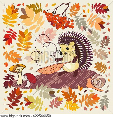 Cute Cartoon Hedgehog Is Sewing A Leaf With A Needle Near A Snail With Closed Eyes Among Falling Aut