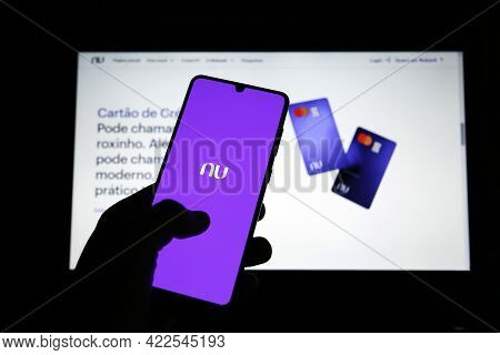 Minas Gerais, Brazil - June 02, 2021: Mobile Phone Display And Site With New Nubank Brand. Digital P