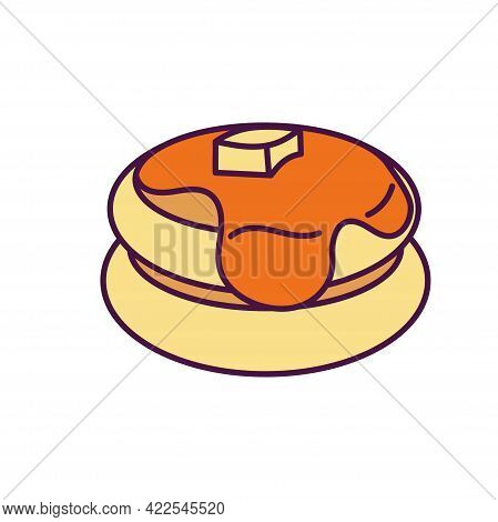 Pancakes With Butter And Sirup Vector Illustration