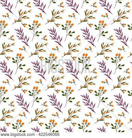 Seamless Pattern With Branches Of Leaves And Forest Berries. Vector Illustration Isolated On White B
