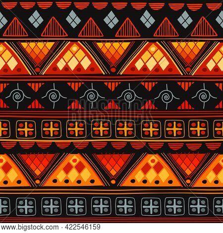 African Seamless With Adinkra Symbols. Antique Pattern Design. Vector Illustration. Stock Illustrati