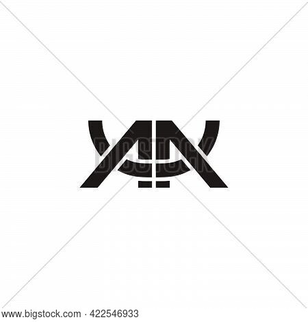 Abstract Letter Mu Linked Overlapping Line Geometric Line Logo Vector