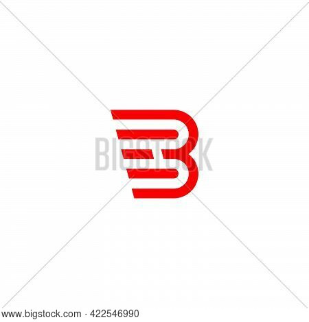Letter B Red Fast Movement Geometric Simple Logo Vector