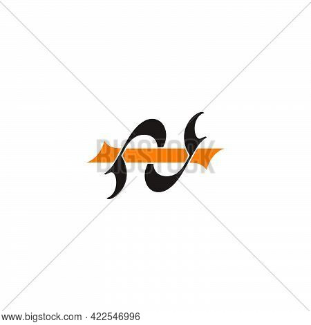 Letter Ni Simple Curve Link Logo Vector
