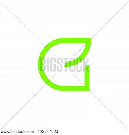 Letter E Eco Leaf Green Color Thin Geometric Line Logo Vector