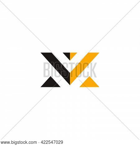 Letter Mv Abstract Geometric Triangle Colorful Logo Vector