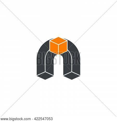 Letter N Carton Box Simple Geometric Flat 3d Design Logo Vector
